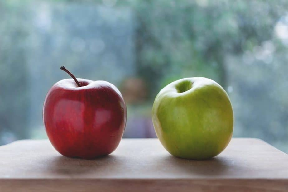 a red apple and a green apple, healthy nutritious food