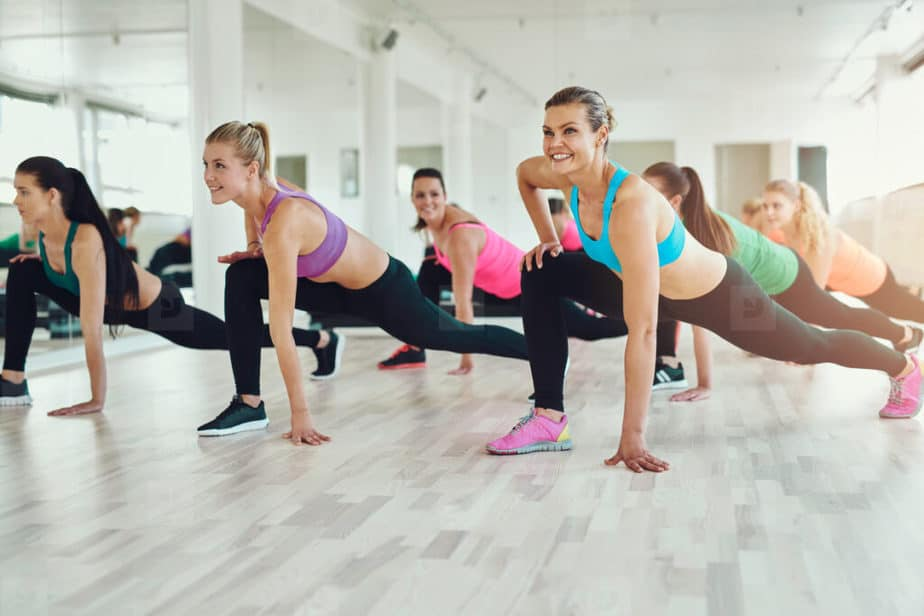 Small Group Training - girls has a training at the gym.