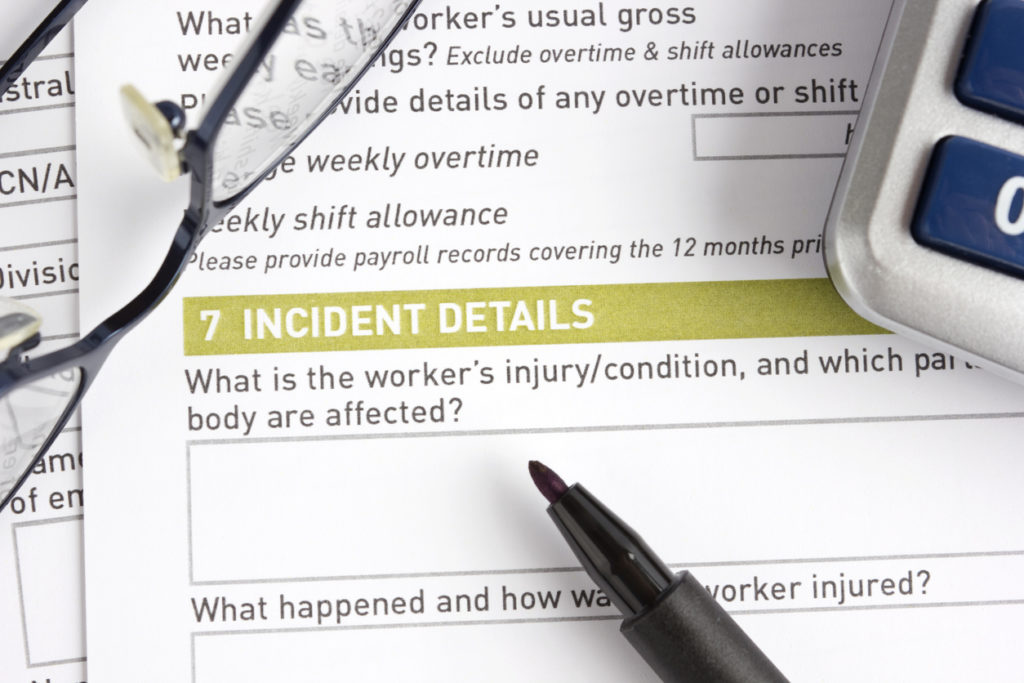 Injury claim report