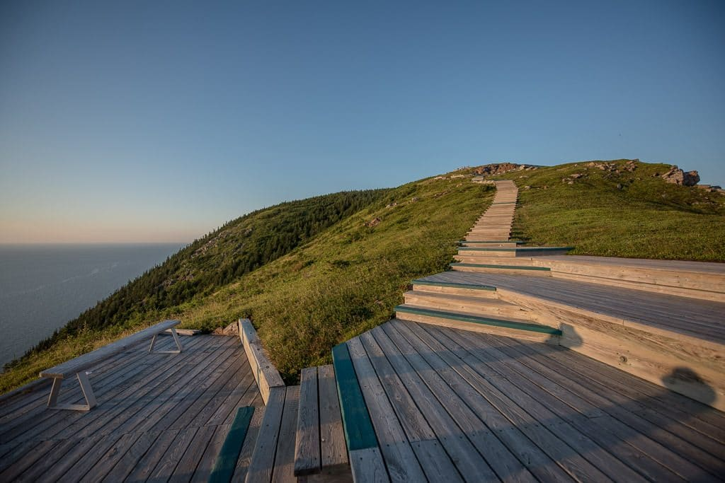 Beautiful boardwalk trail and stairs on the Skyline Trail