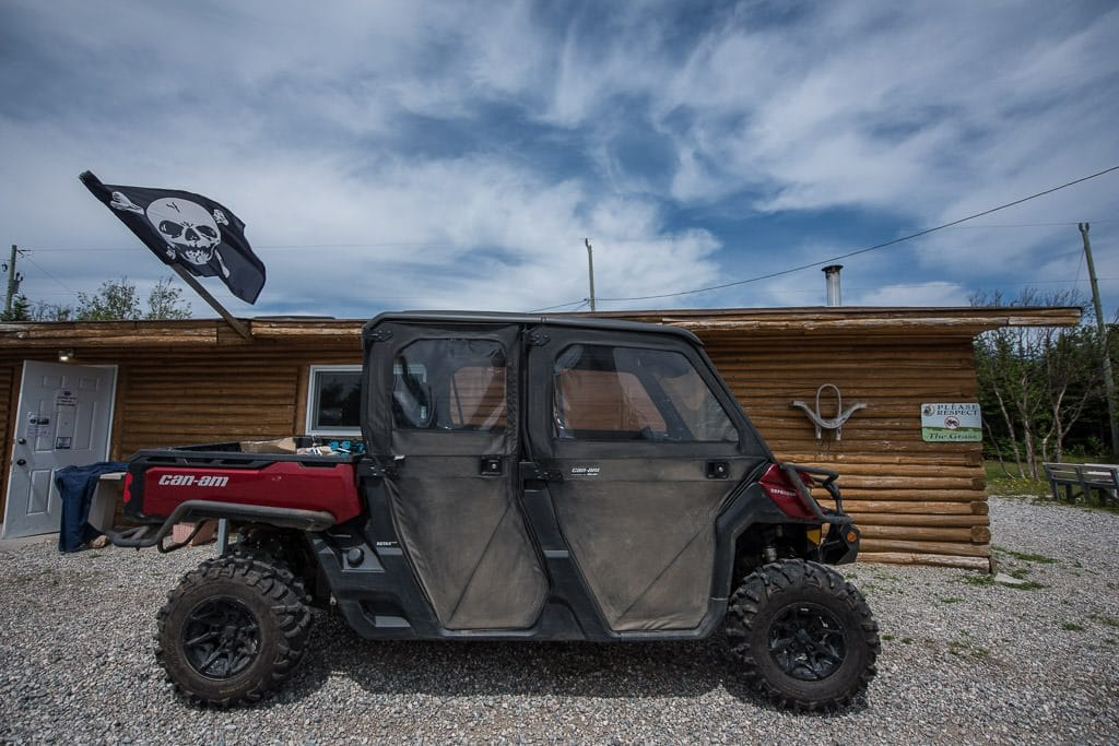 Side-by-side 4 seater atv outside the main building where lunch and breakfast are served at Pirate's Haven