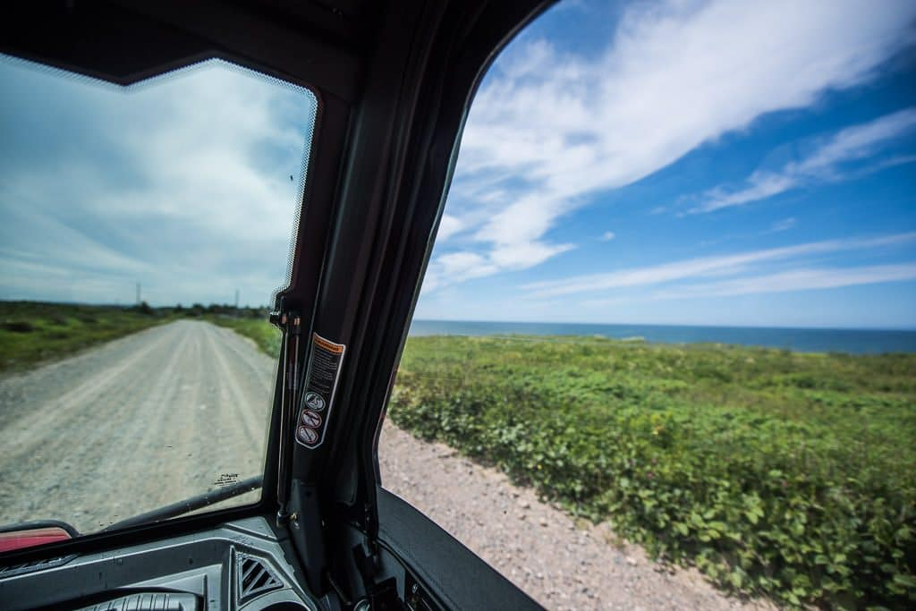 Beautiful blue sky and coastal views on our ATV journey