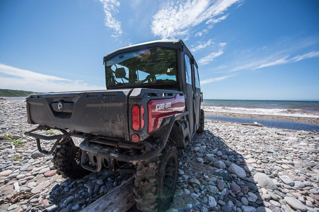 ATV on the rocky beach next to the atlantic ocean