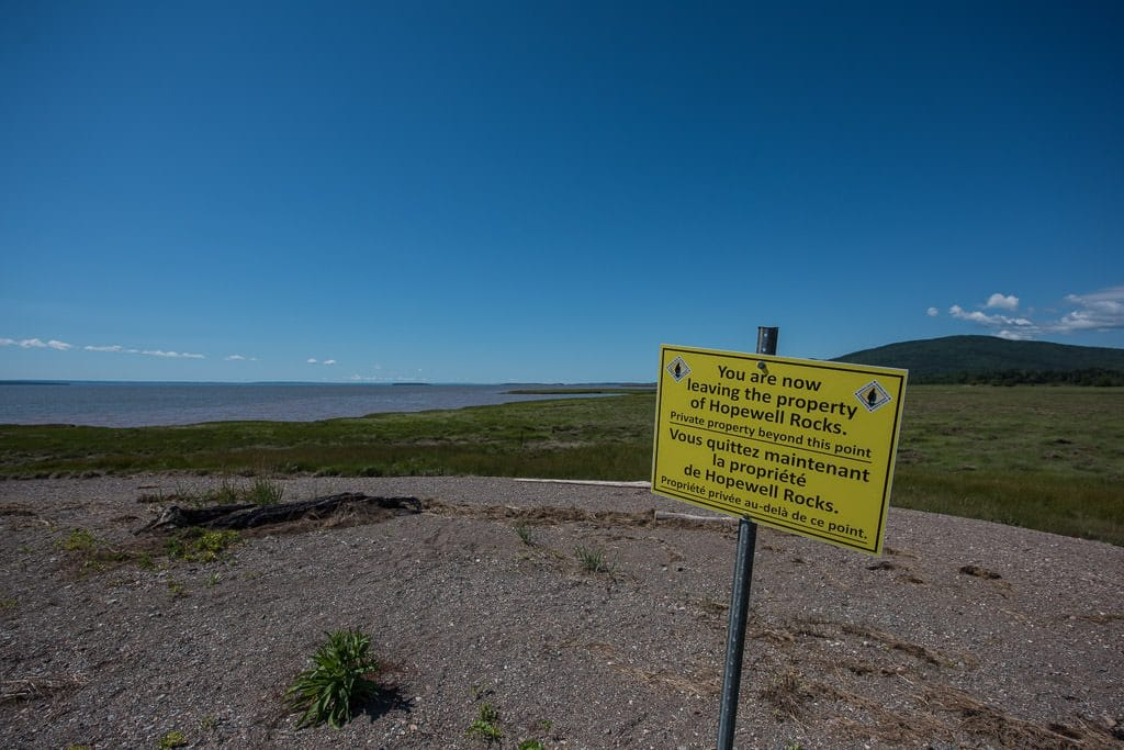Sign showing you have reached the end of Hopewell Rocks property