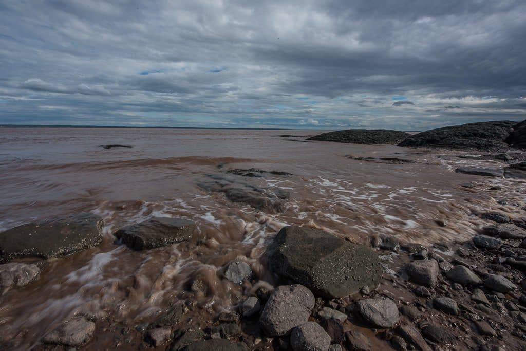 The muddy tide water is coming in quickly at Hopewell Rocks. Tides can rise 4-6 feet per hour.