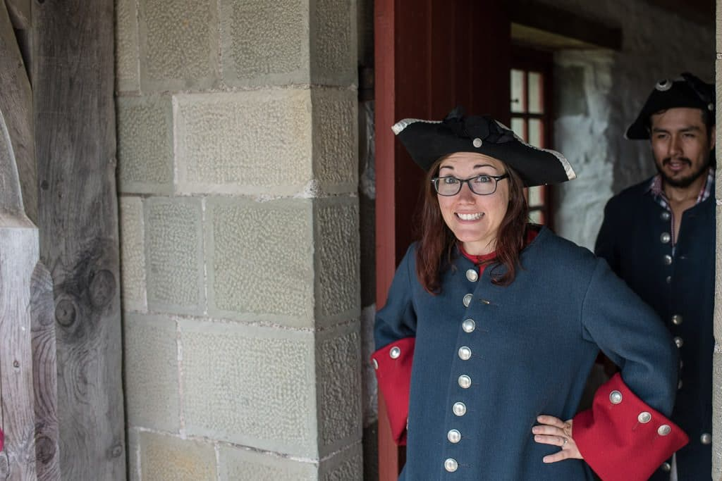 Brooke all dressed up and ready to fire a cannon at Fortress of Louisbourg