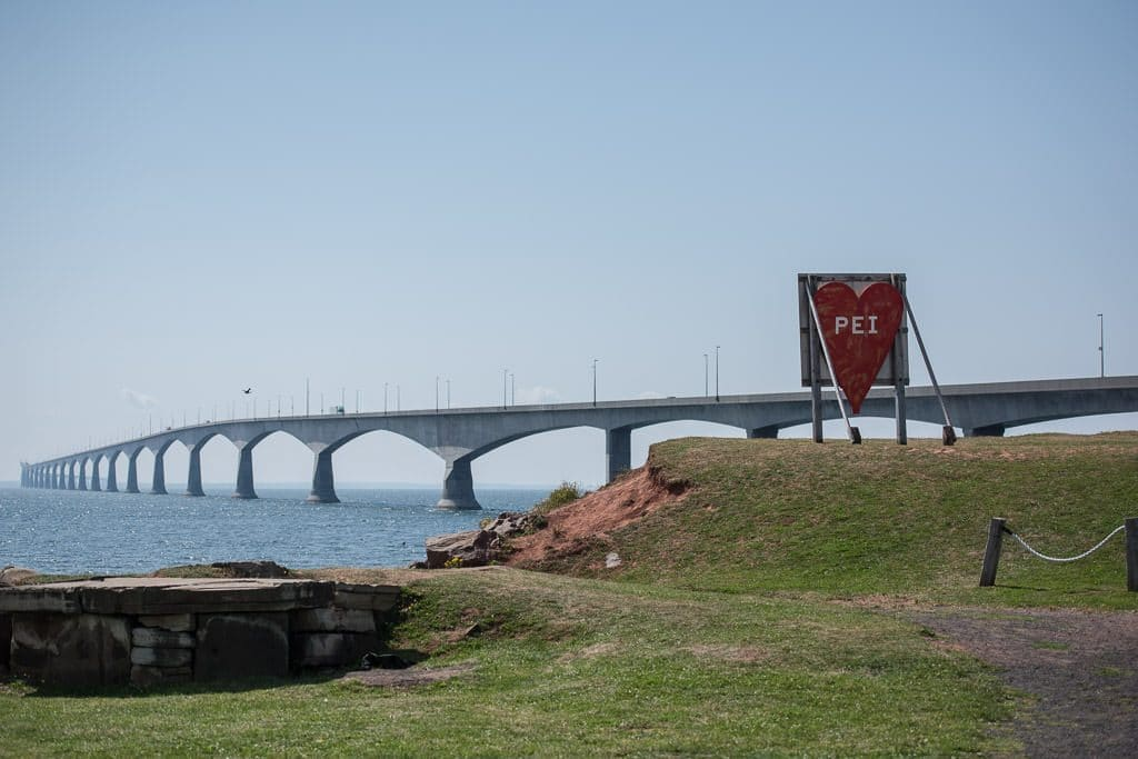 8-Mile bridge and heart sign with PEI on it before leaving the island