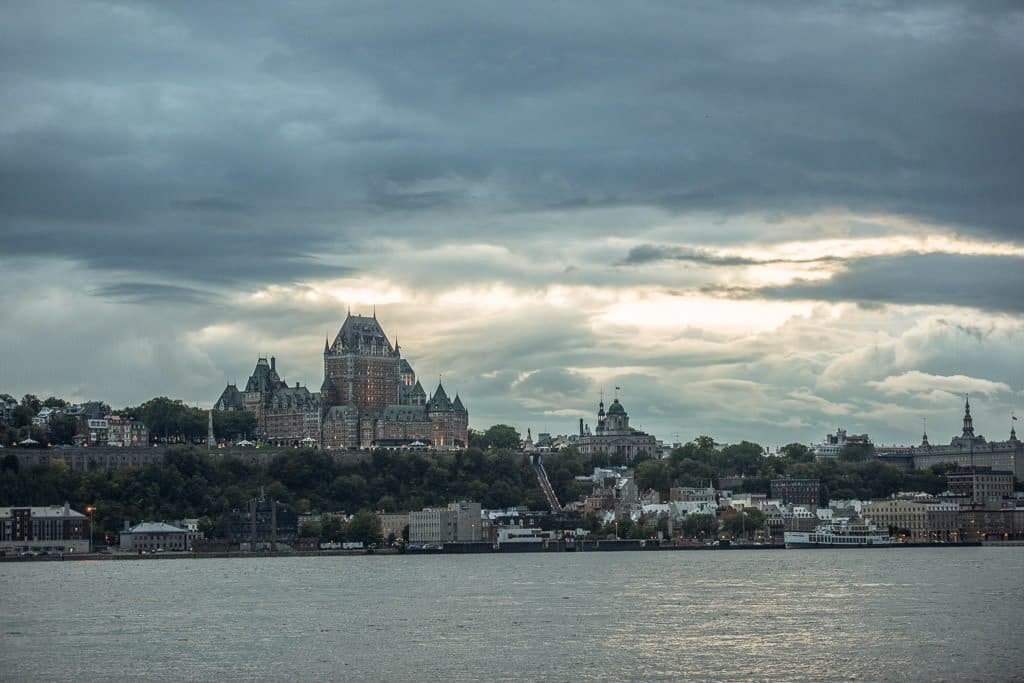 Looking towards Quebec City during sunset from across the St. Lawrence River