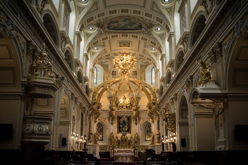 Beautiful architecture of the Notre-Dame-des-Victoires Church in Quebec City