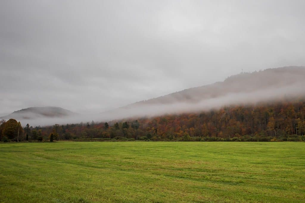Large green pasture and fog covering the colorful trees on the hillside in Vermont's Groton State Forest