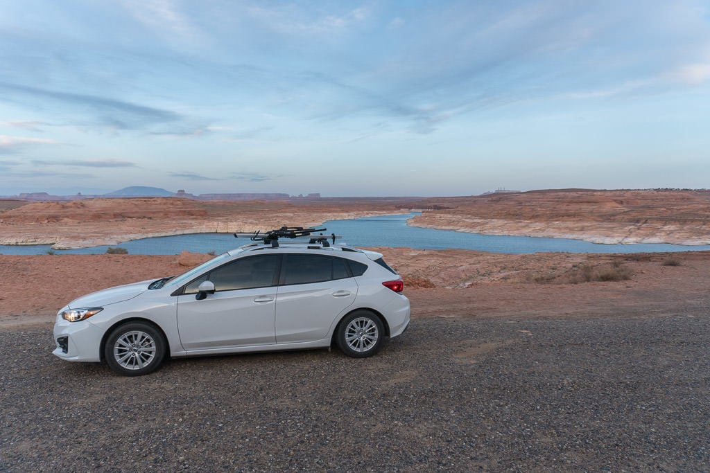 Our Subaru Imprezza ready for adventure next to Lake Powell