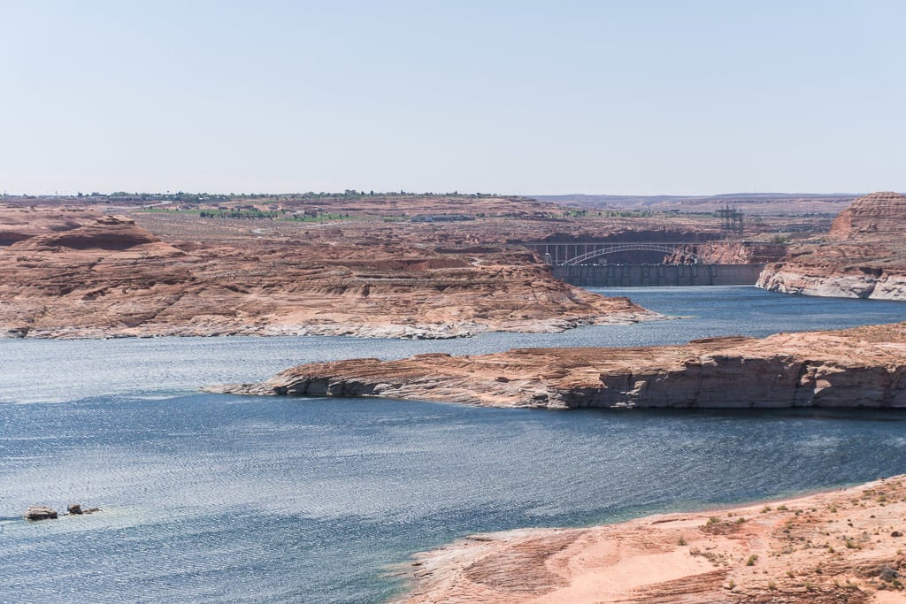 Looking over Lake Powell towards Glen Canyon Dam