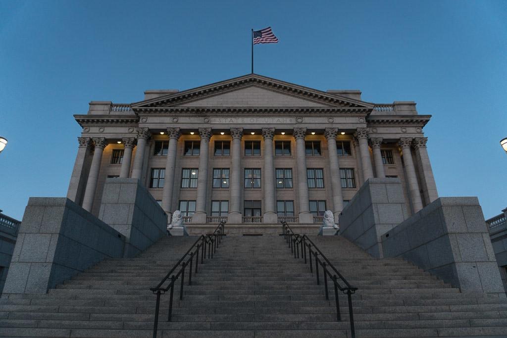 Capitol Building in Salt Lake City Utah flying an American Flag on the top