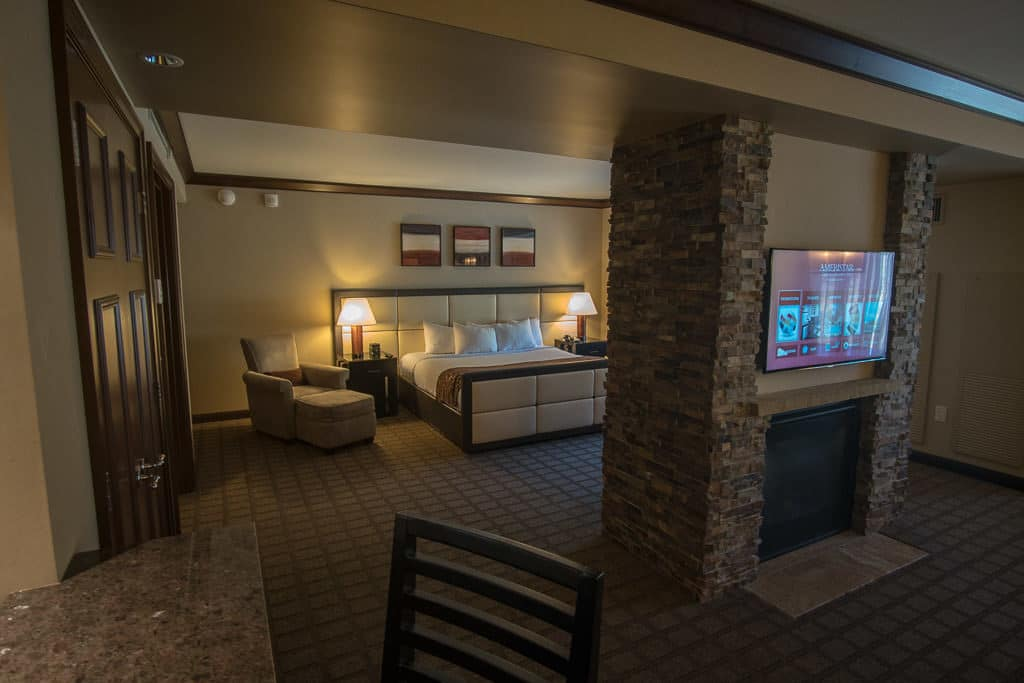 Our amazing room in the Ameristar Black Hawk Resort, with a huge king bed and a double sided fireplace.