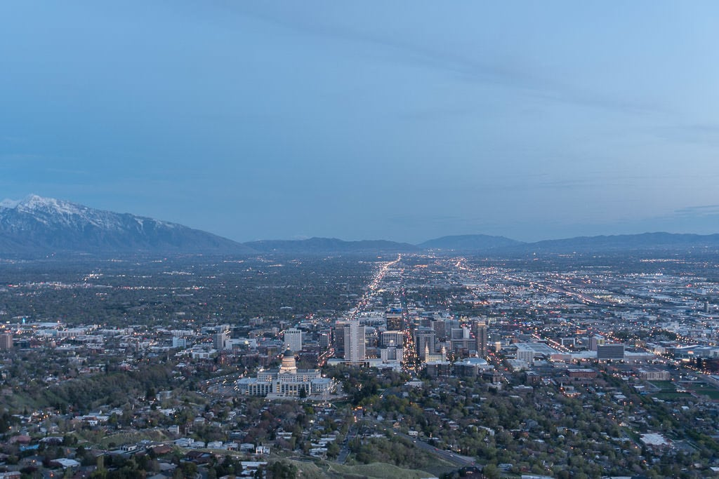 Looking into downtown Salt Lake City from Ensign Hill
