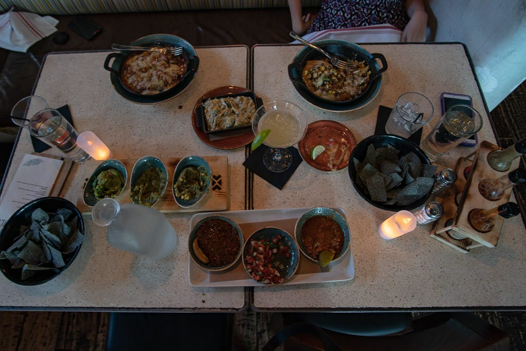 A table full of delicious food from Kachina Southwestern Grill
