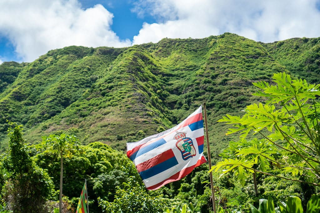 halawa valley flag in the wind