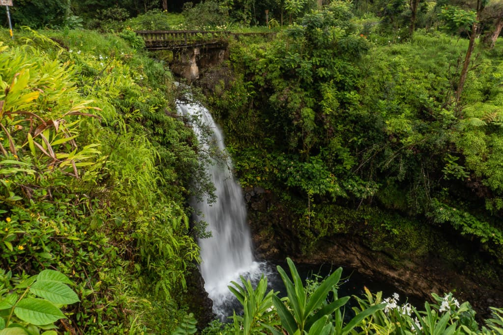 Waterfall going under a bridge on the Road to Hana in Maui
