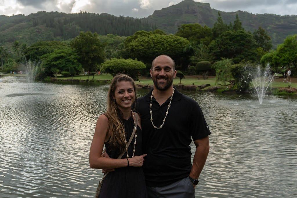 couple with kauai views at smith's family luau