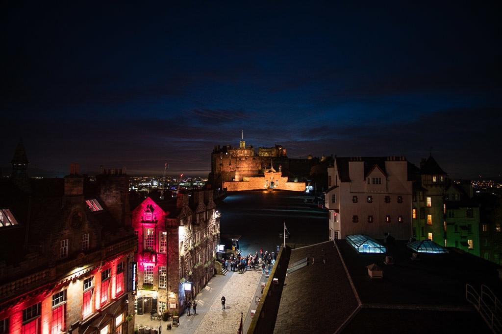 night views of edinburgh castle from atop camera obscura in Edinburgh Scotland