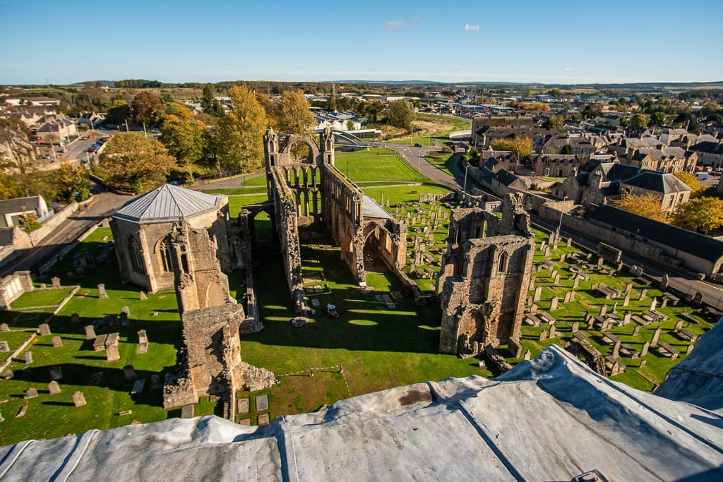 Elgin Cathedral remains from above near inverness scotland