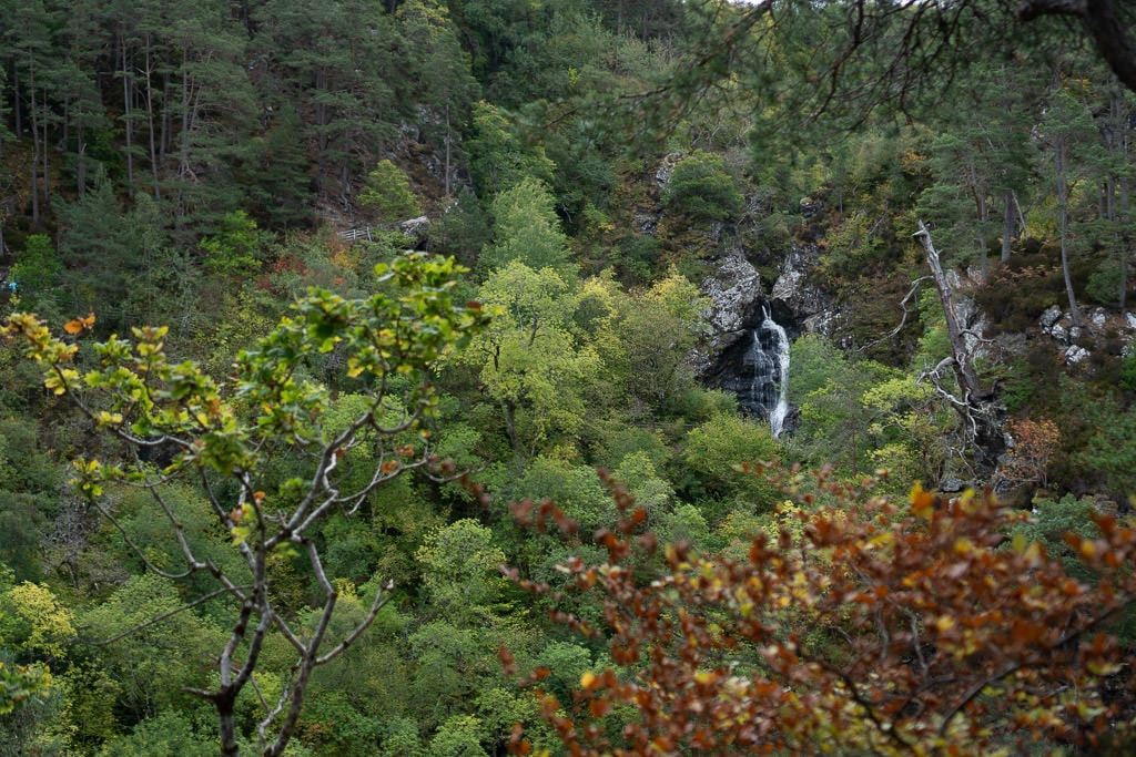 Falls of Foyers from further away looking at it through the trees
