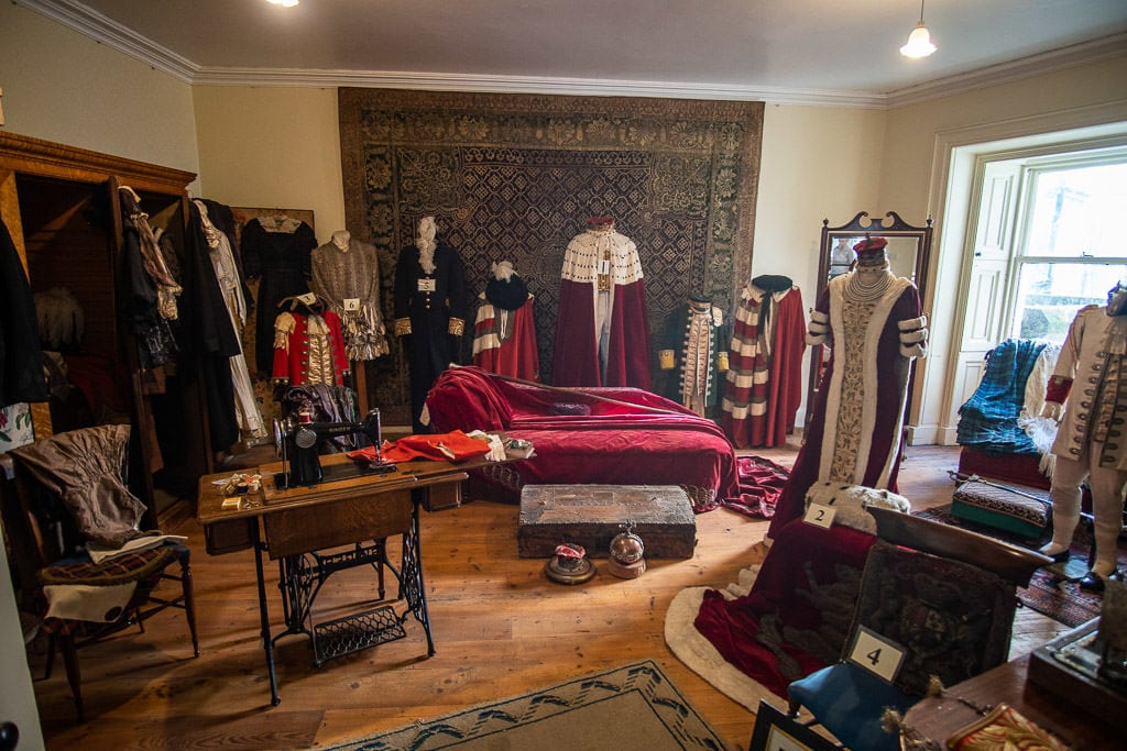 Room with some of the old royal garments in it