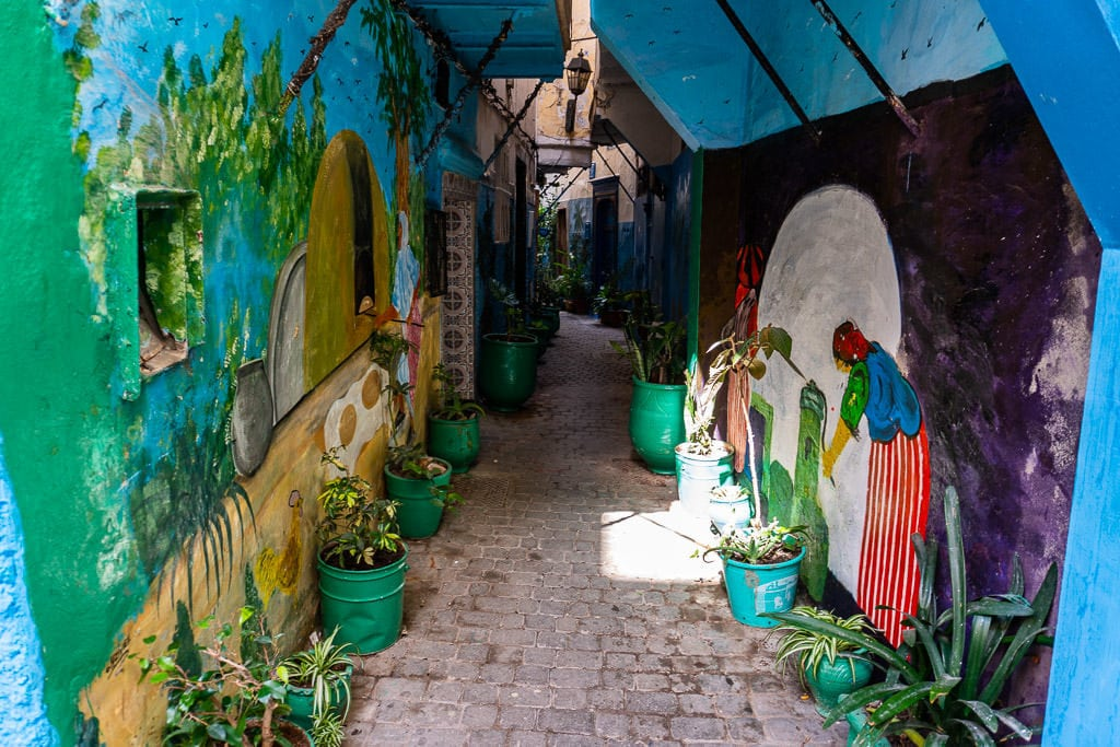 painted hallway scene in tangier on a day trip to Morocco