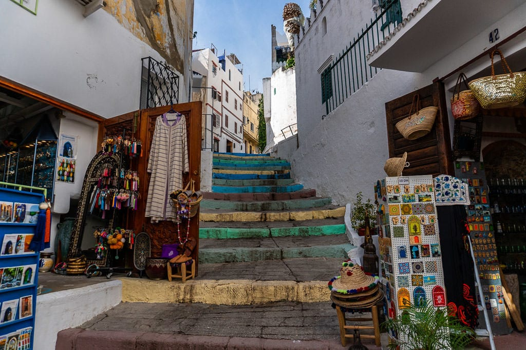 colorful stairs and souvenir shops in tangier morocco