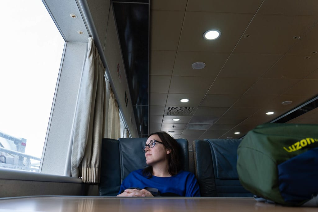 thinking on return ferry to tarifa from tangier after day trip to Morocco