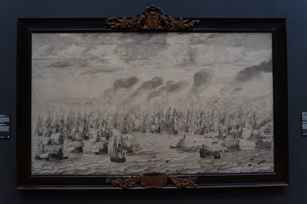 painting of ships at Rijksmuseum in amsterdam