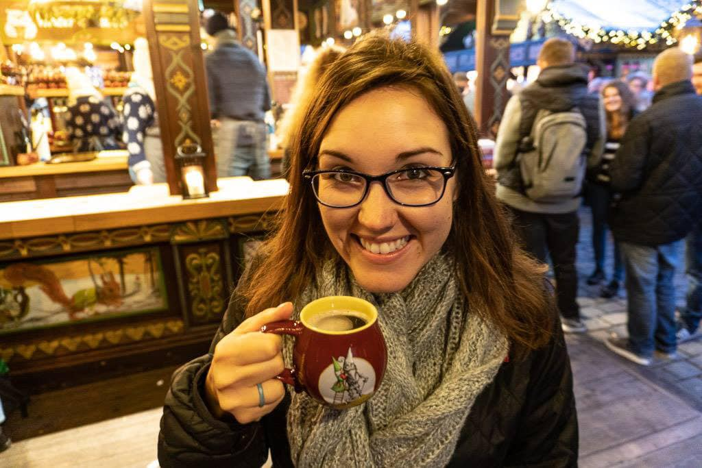 drinking gluhwein at cologne christmas market