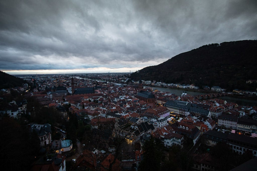 heidelberg germany views from castle at twilight