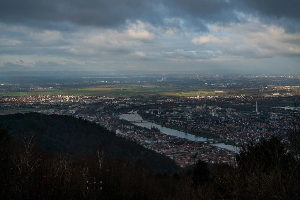 view of heidelberg germany from the top of Königstuhl