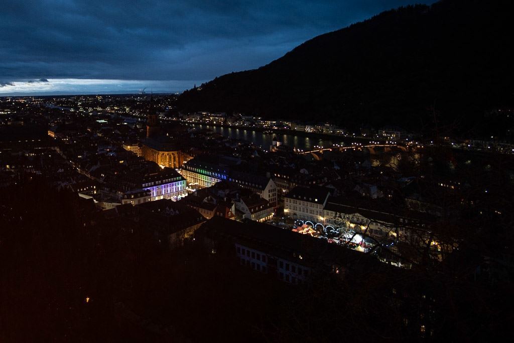 night views of heidelberg christmas market in germany from heidelberg castle