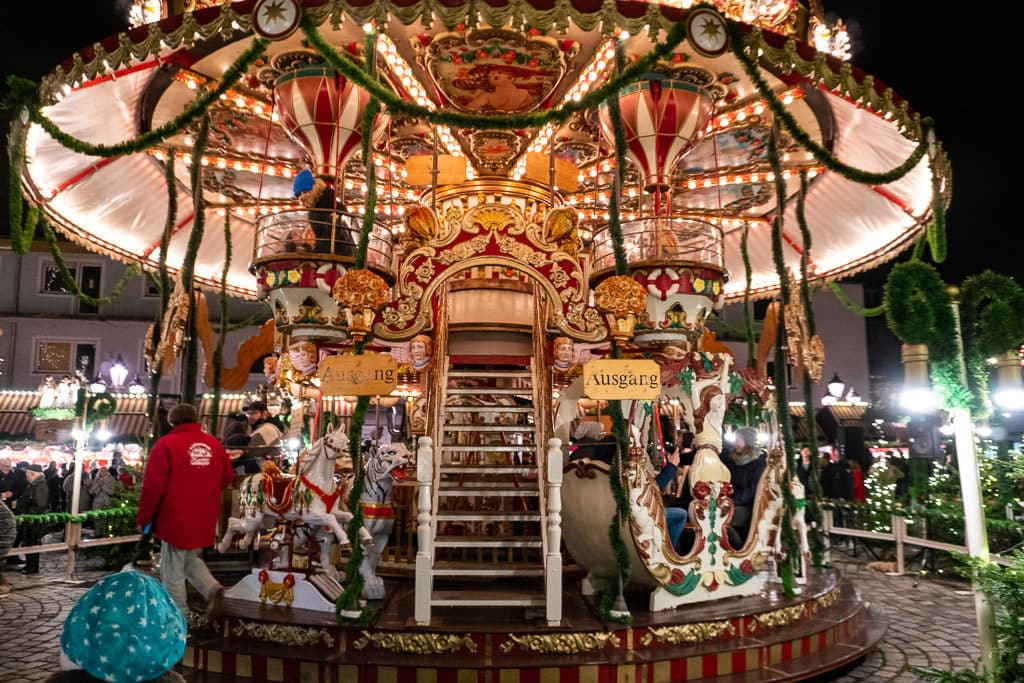 carousel at Nuremberg christmas market in germany