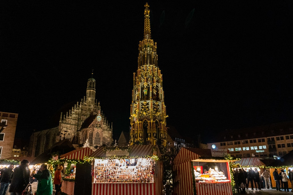spire by cathedral at Nuremberg christmas market in germany
