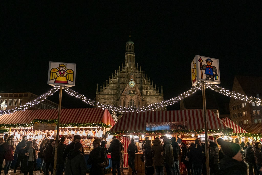 Nuremberg cathedral at christmas market in germany