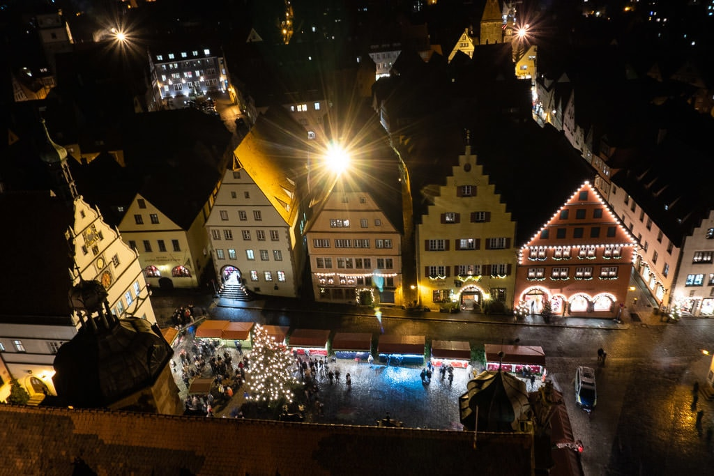 rothenburg christmas markets in germany from tower above