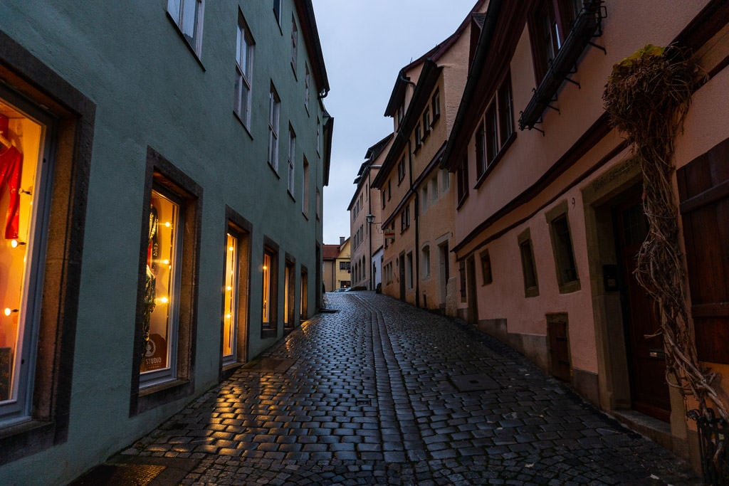 city street in rothenburg germany