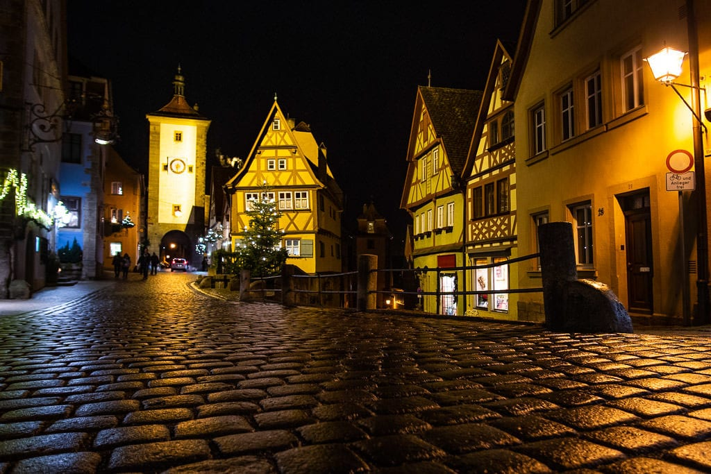 medieval architecture at night in rothenburg germany