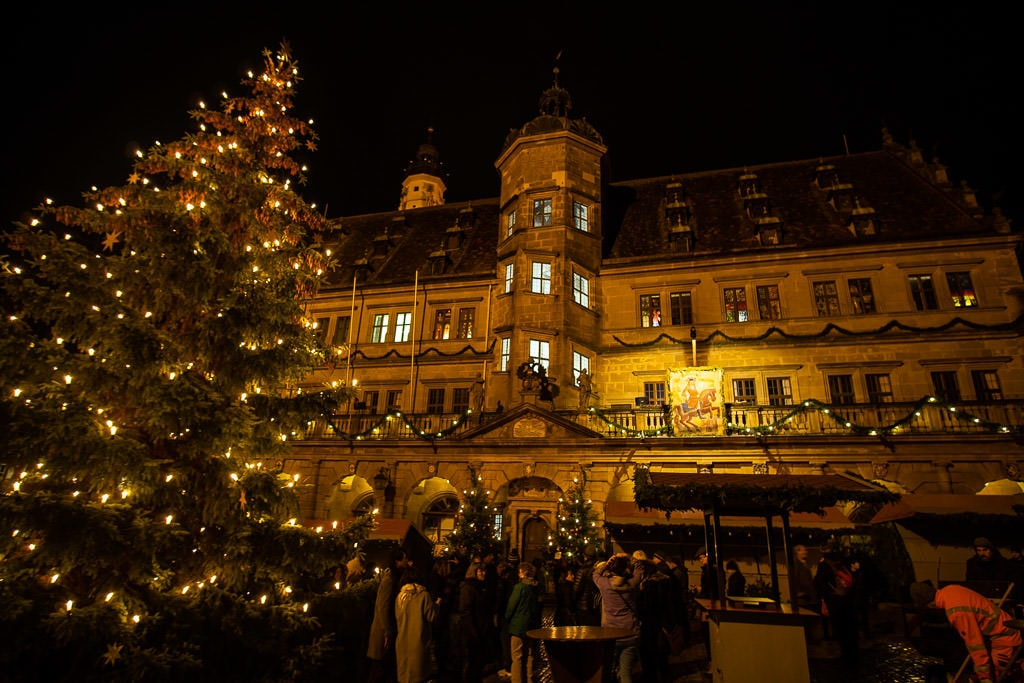 christmas tree at market in rothenburg germany