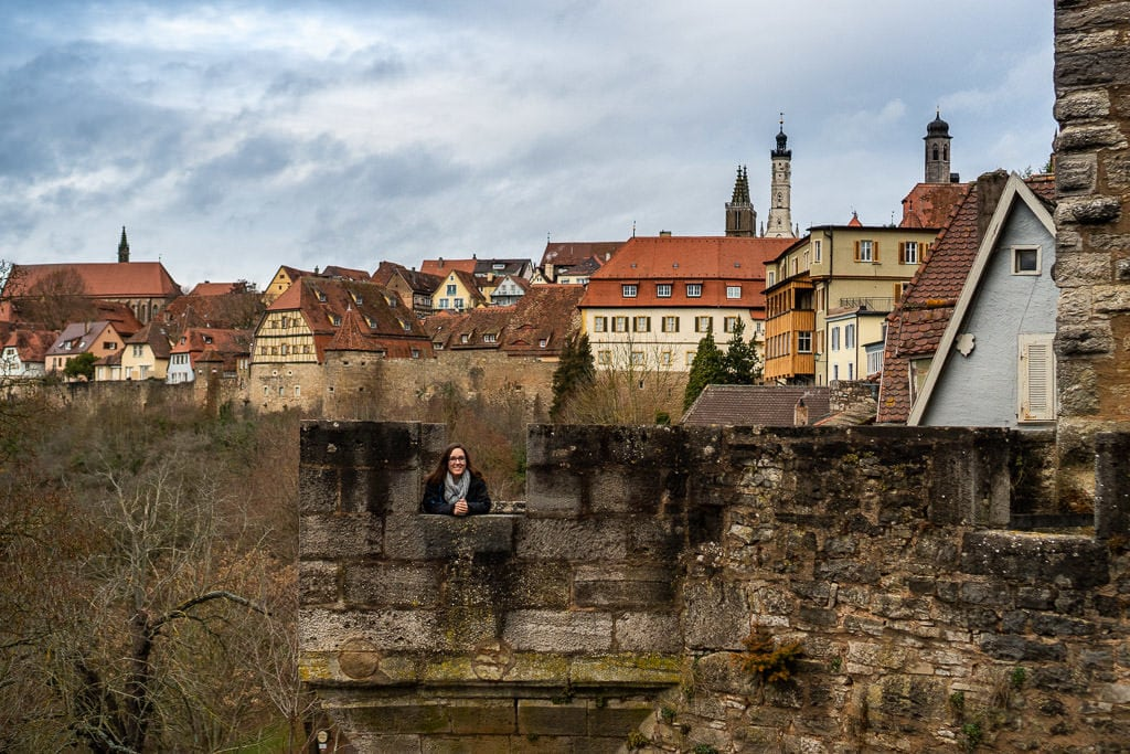 exploring the city walls in rothenburg germany