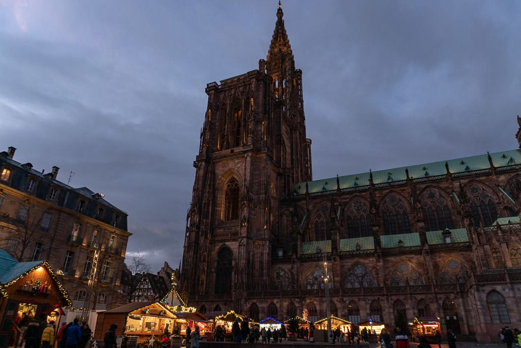 cathedral in strasbourg and christmas market in france