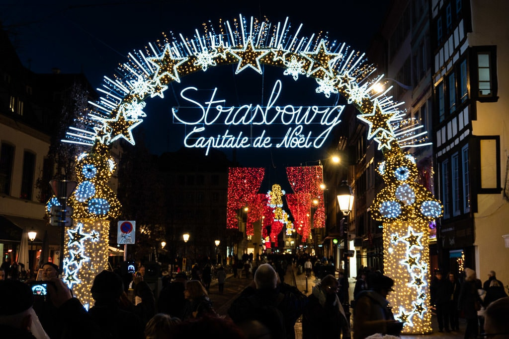 strasbourg christmas market capital de noel lighted sign