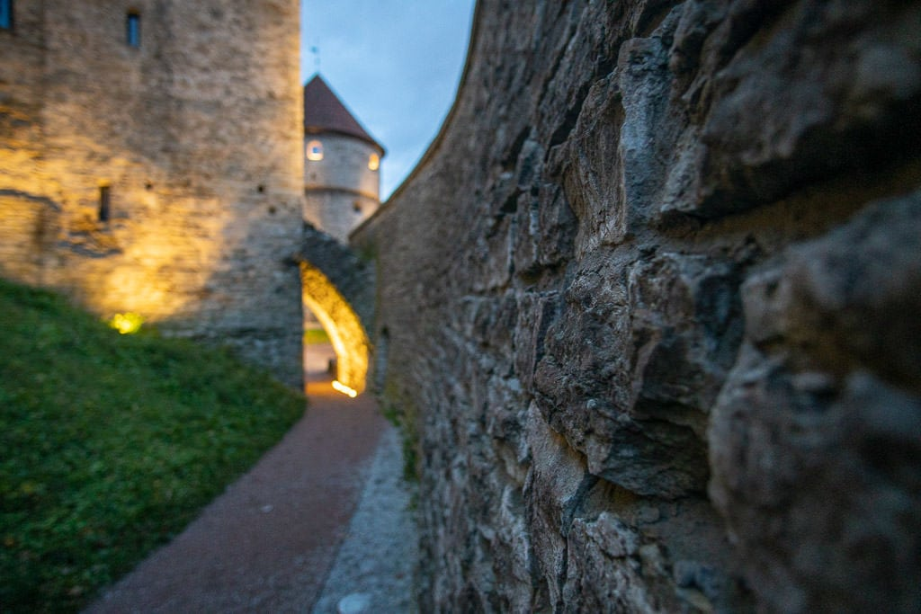 View of the city wall through a tunnel