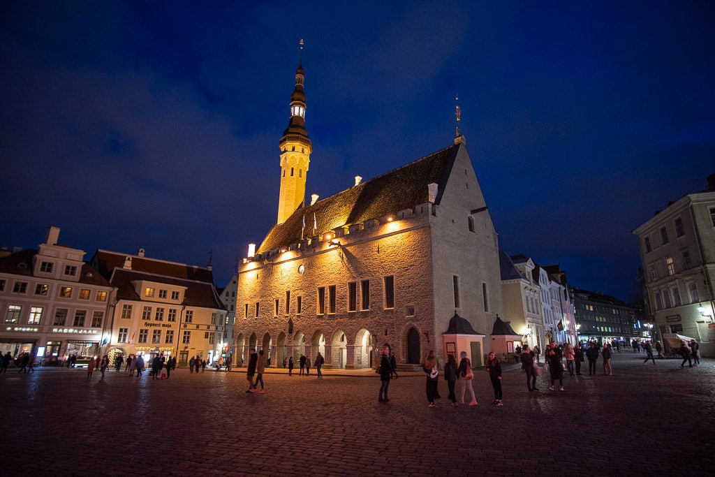 Night Shot of Town Square in Tallinn