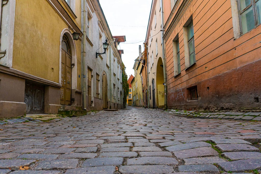 Side street in Tallinn, from laying on the ground