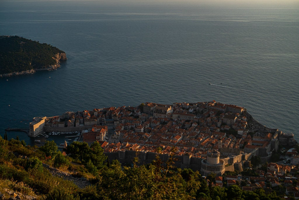 View of Dubrovnik while hiking up Mount Srd