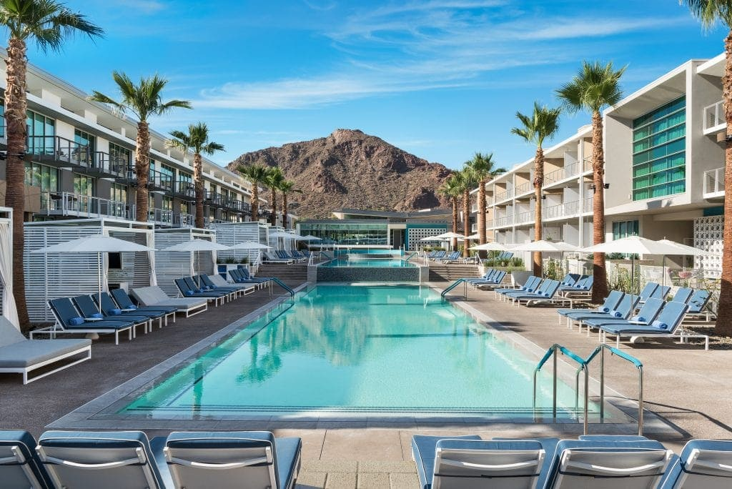View of Camelback Mountain from resort swimming pool